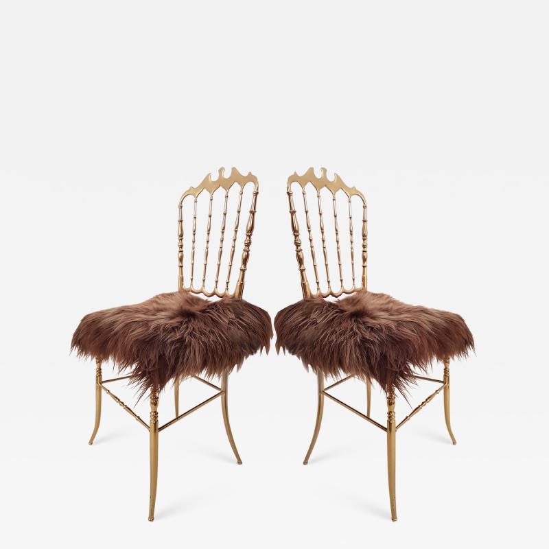 Chiavari Pair of Italian Massive Brass Chairs by Chiavari Upholstery Iceland Wol