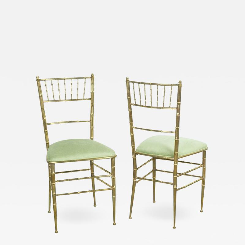 Chiavari Pair of Italian Mid Century Modern Green Velvet Brass Chiavari Style Chairs