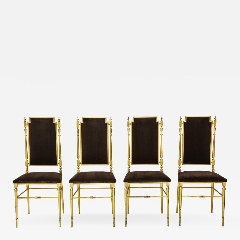 Chiavari Suite of four solid brass Chiavari chairs Italy 1970s