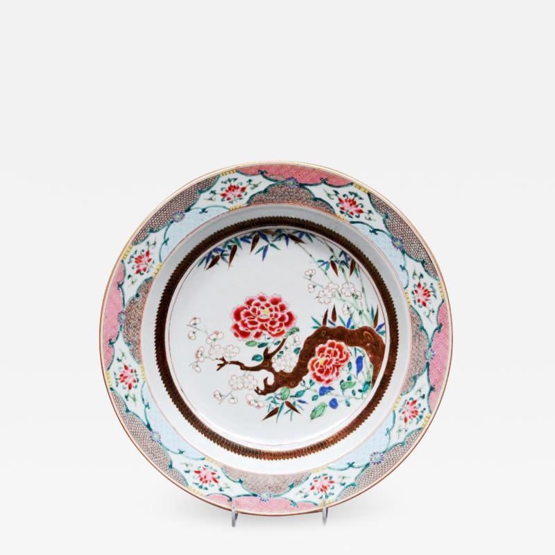 Chinese Porcelain 18th Century Chinese Export Famille Rose Porcelain Large Basin