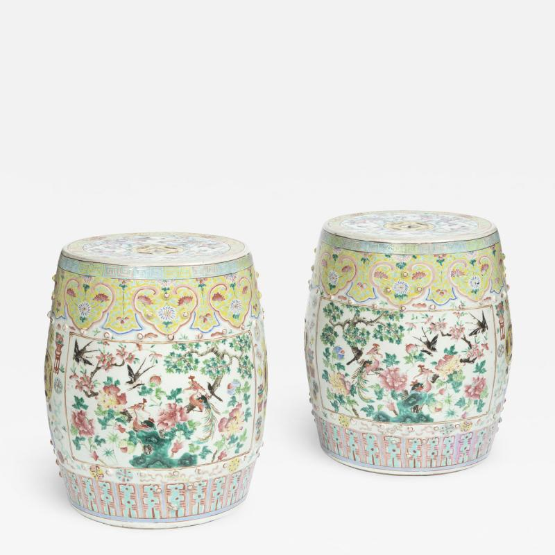 Chinese Porcelain 19th Century Chinese Export Porcelain Garden Seats A Pair