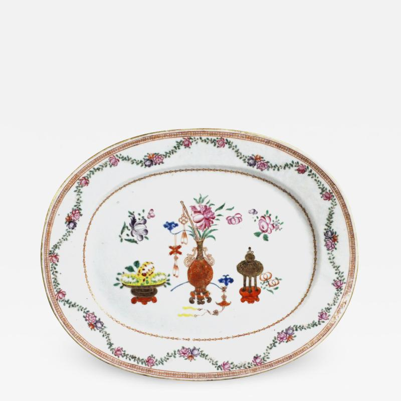 Chinese Porcelain Chinese Export Oval Porcelain Famille Rose Dish Painted With Precious Objects