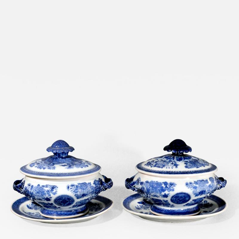 Chinese Porcelain Chinese Export Porcelain Blue Fitzhugh Sauce Tureens Covers Stands