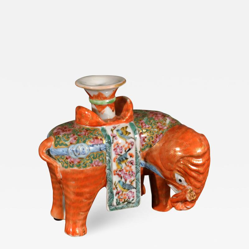Chinese Porcelain Chinese Export Porcelain Canton Famille Rose Elephant Candlestick