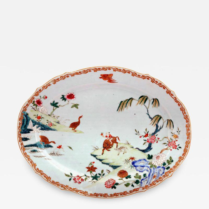 Chinese Porcelain Chinese Export Porcelain Famille Rose Dish with Boy on Water Buffalo