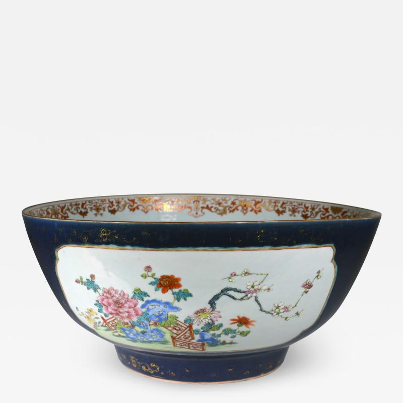 Chinese Porcelain Chinese Export Porcelain Large Bowl with Mazarine Blue Gilt Ground