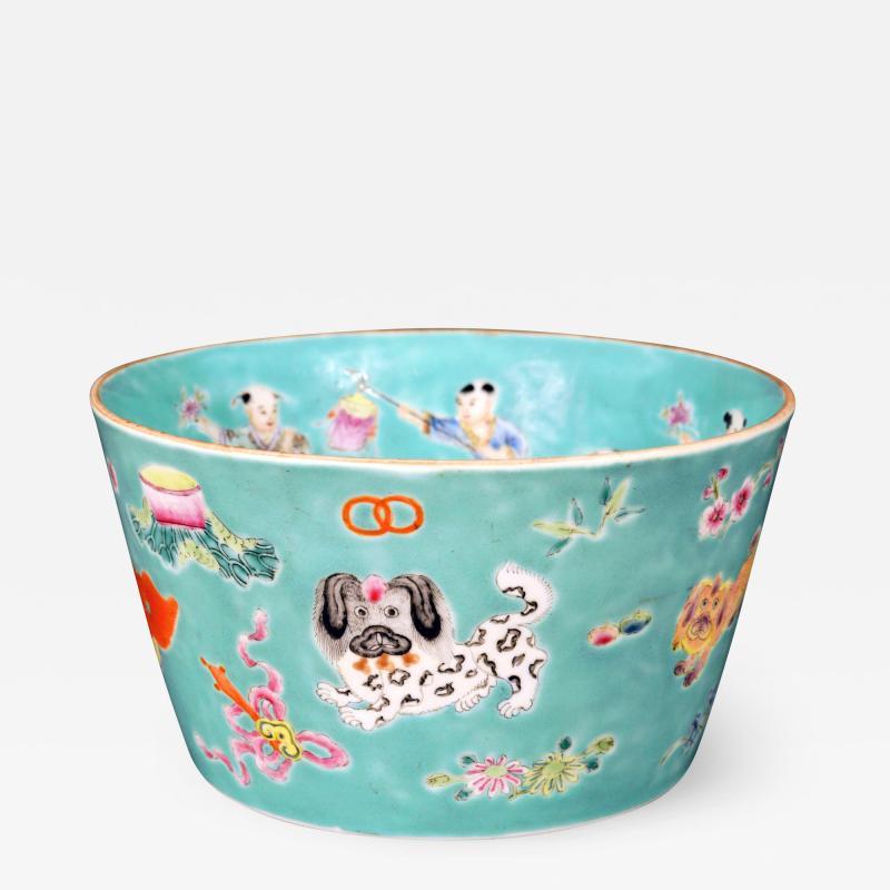 Chinese Porcelain Chinese Porcelain Turquoise Jardiniere of Bowl with Chinese Boys Pekingese Dog