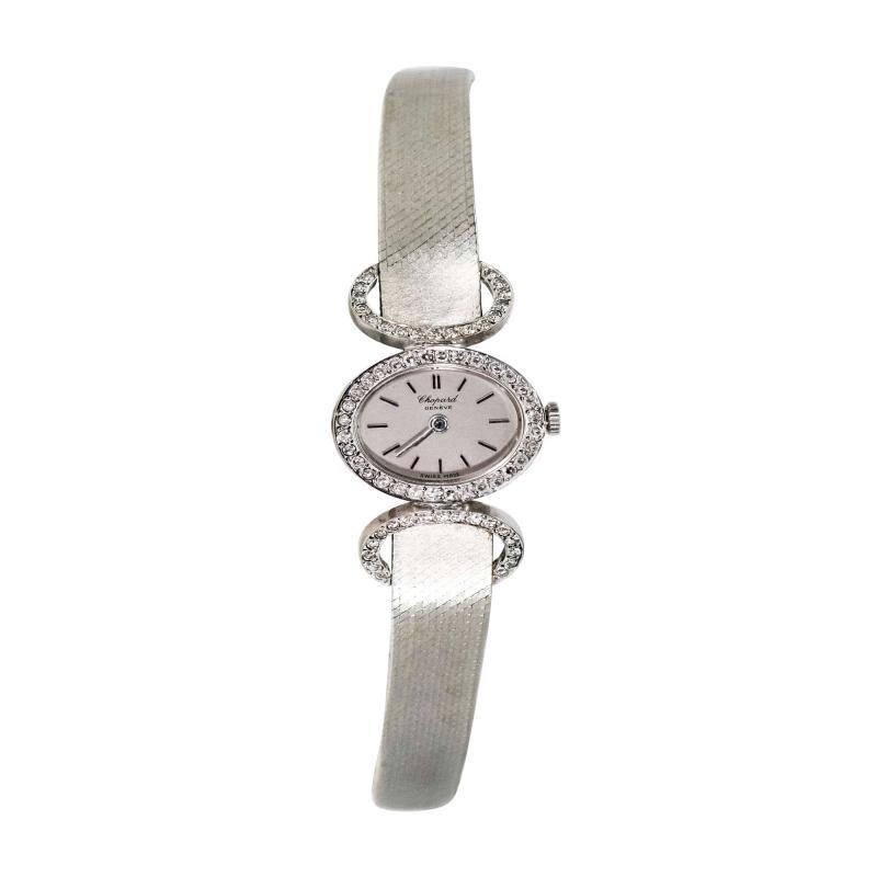 Chopard Elegant 1970s Chopard 18 Karat Gold Diamond Set Bracelet Wristwatch