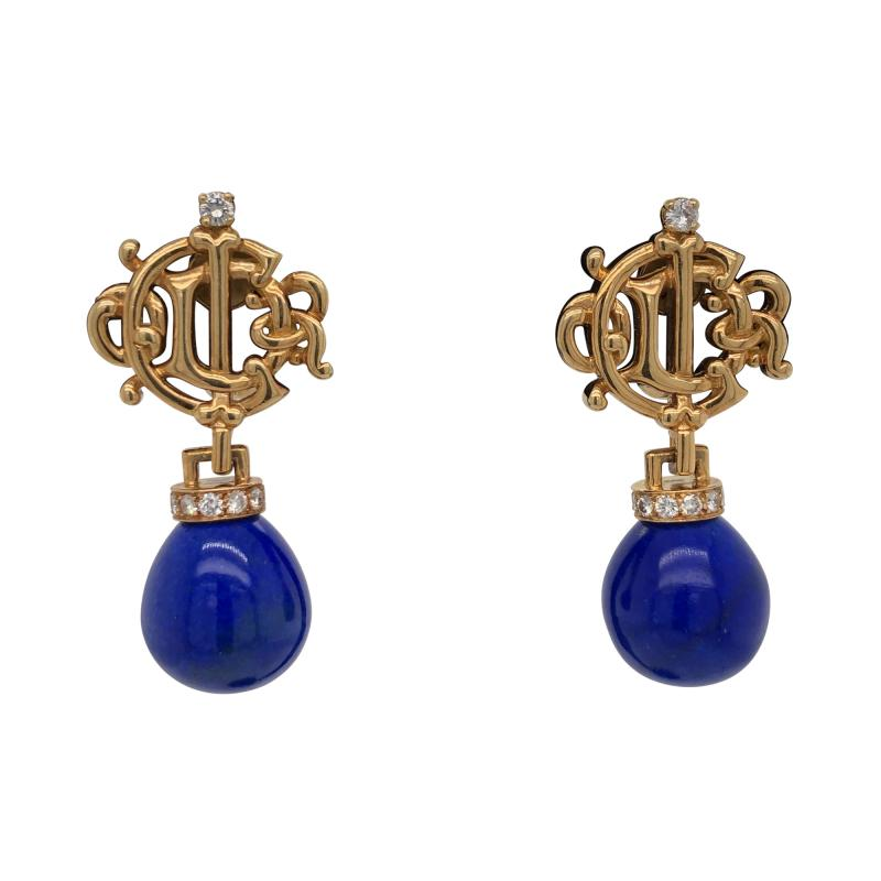 Christian Dior Christian Dior gold and lapis earrings
