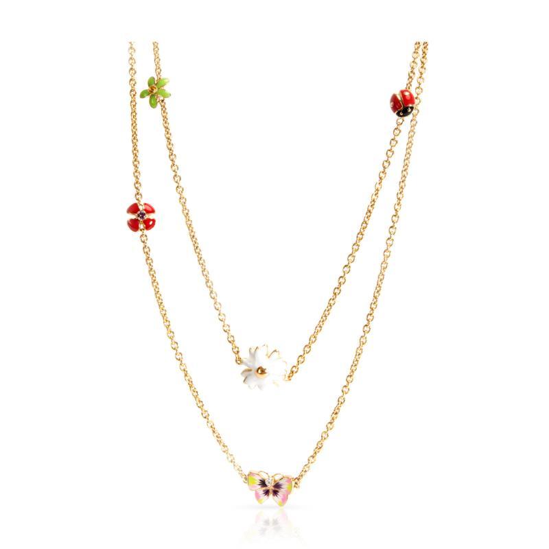 Christian Dior Dior Diorette Jardin de Milly la Foret Flower Enamel Necklace 18K Yellow Gold