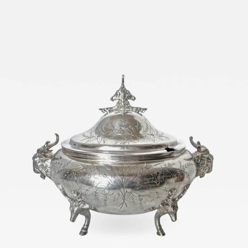 Clive Devenish Antiques Silver Plated Covered Tureen with Deer Ram Motif Circa 1885 Meriden