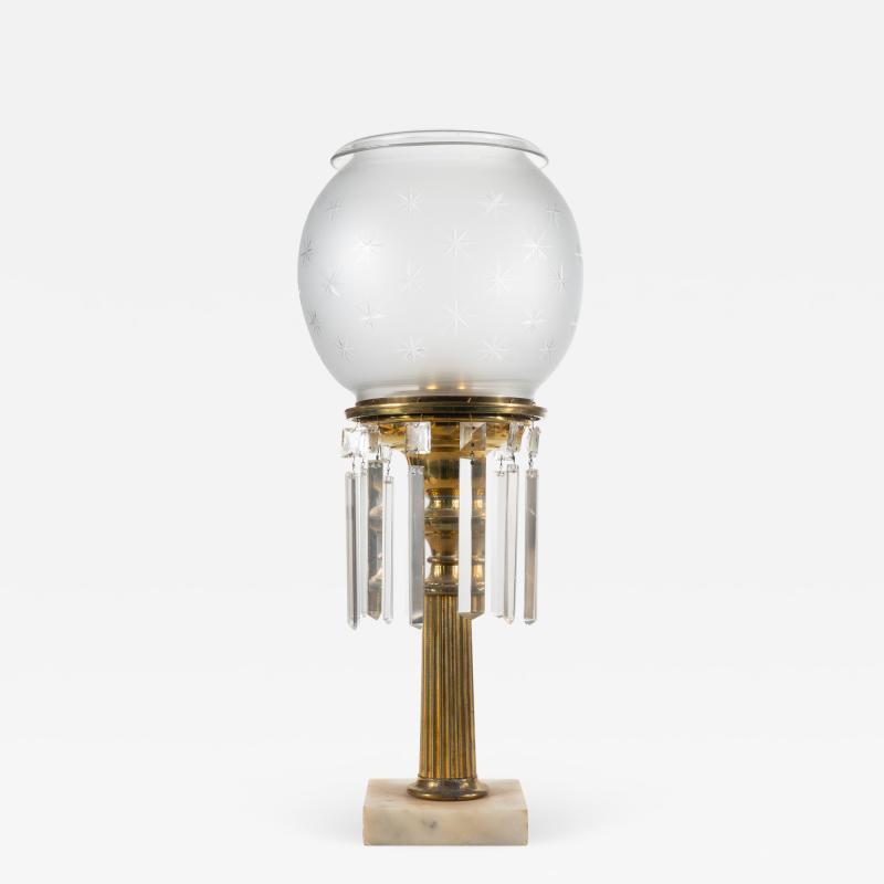 Cornelius and Company Brass astral lamp with globe shade