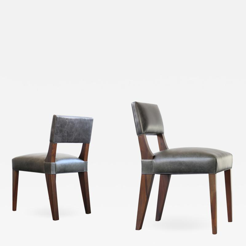 Costantini Design Bruno Low Dining Side Chair in Argentine Rosewood and Leather from Costantini
