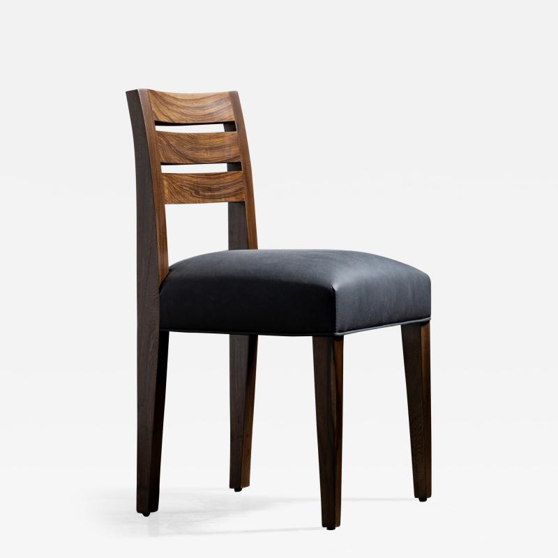 Costantini Design Contemporary Exotic Wood and Leather Side Chair from Costantini Renzo