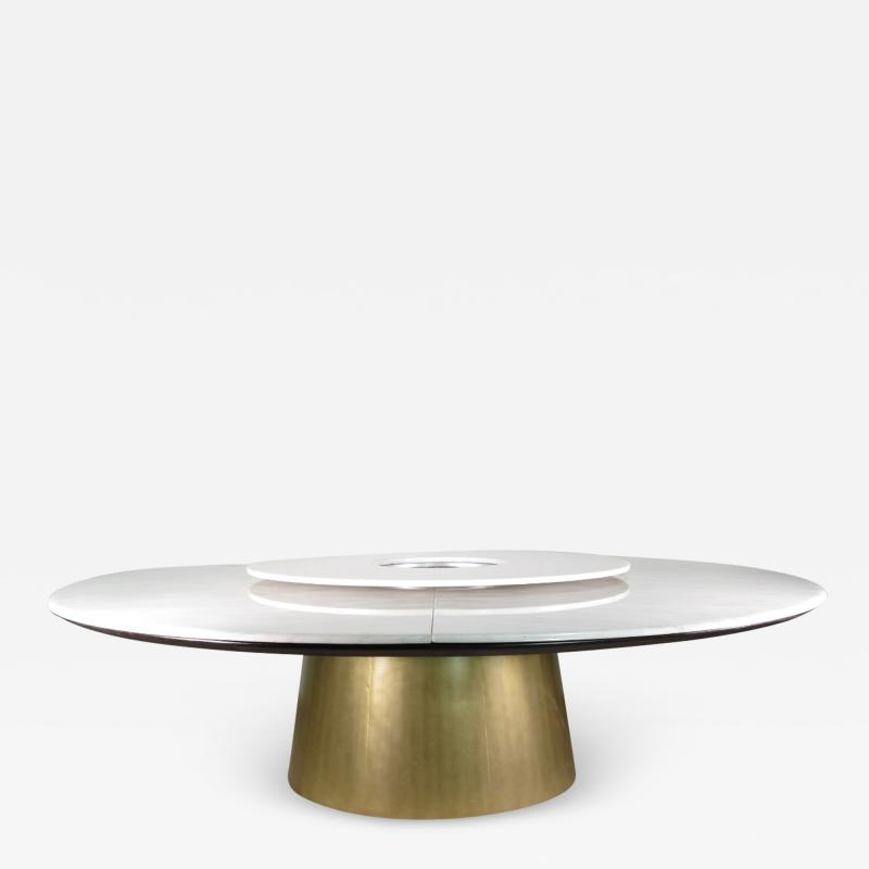 Costantini Design Custom Round Marble and Bronze Dining Table with Rotating Server from Costantini