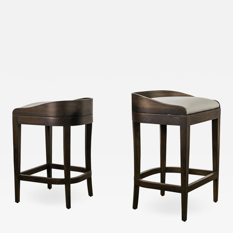 Costantini Design Exotic Wood Contemporary Sleek Counter Stool in Leather from Costantini Pia