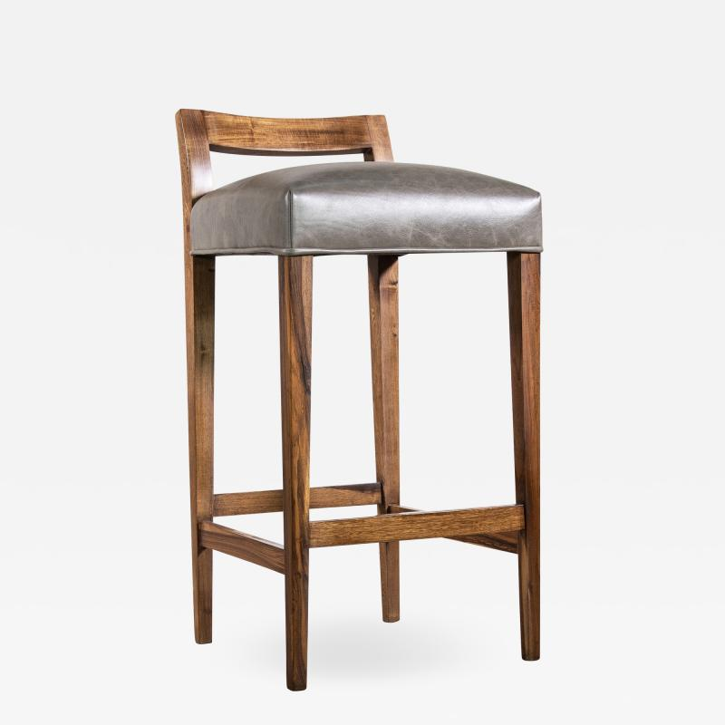 Costantini Design Exotic Wood Contemporary Stool in Leather from Costantini Umberto
