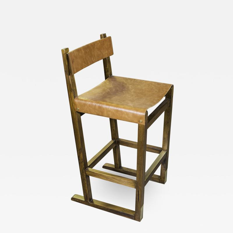 Costantini Design Exotic Wood Counter Stool w Slung Leather Seat Bronze from Costantini Piero