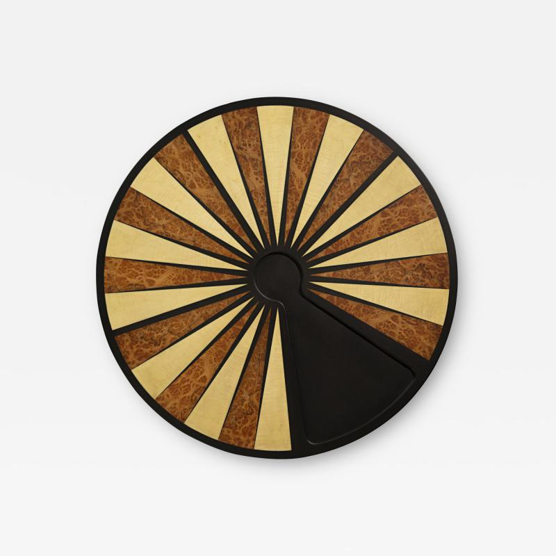 Costantini Design Exotic Wood Inlaid Round Backgammon Table by Costantini
