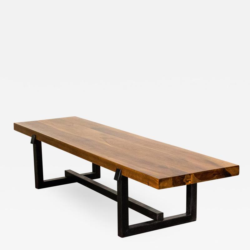 Costantini Design Exotic Wood Rustic Black Steel Bench from Costantini Donato In Stock