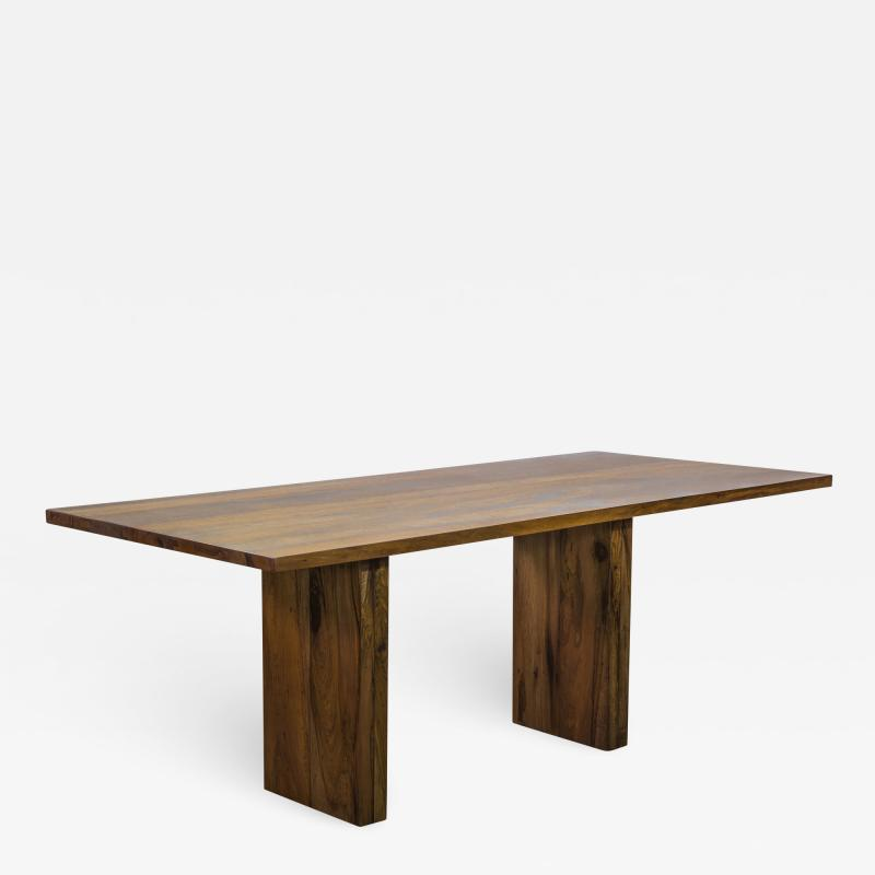 Costantini Design Exotic Wood Twin Pedestal Modern Dining Table from Costantini Andre In Stock