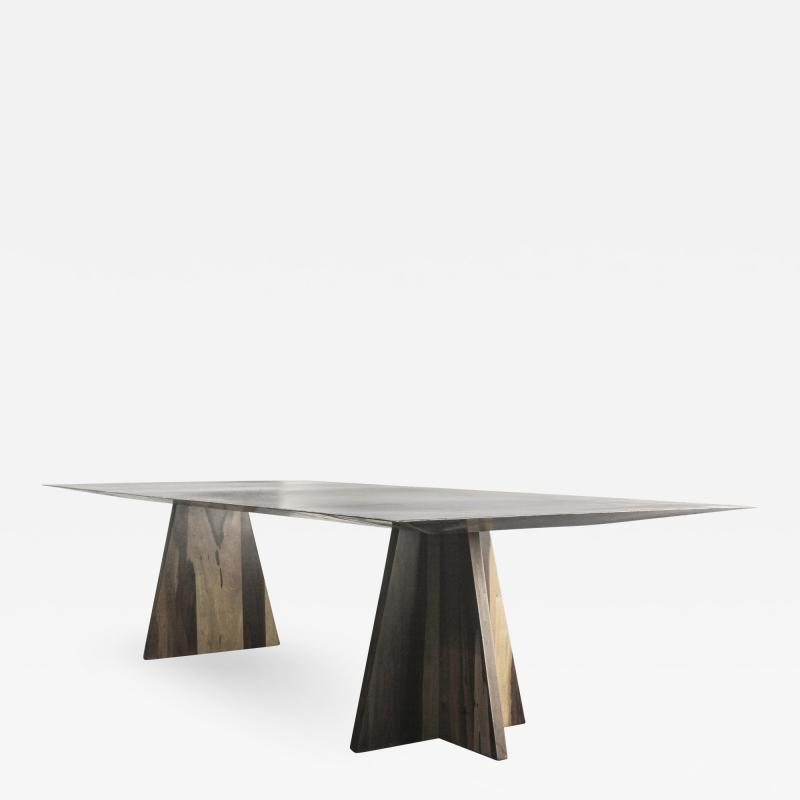 Costantini Design Fierro Table Argentine Rosewood and Metal Top from Costantini Design