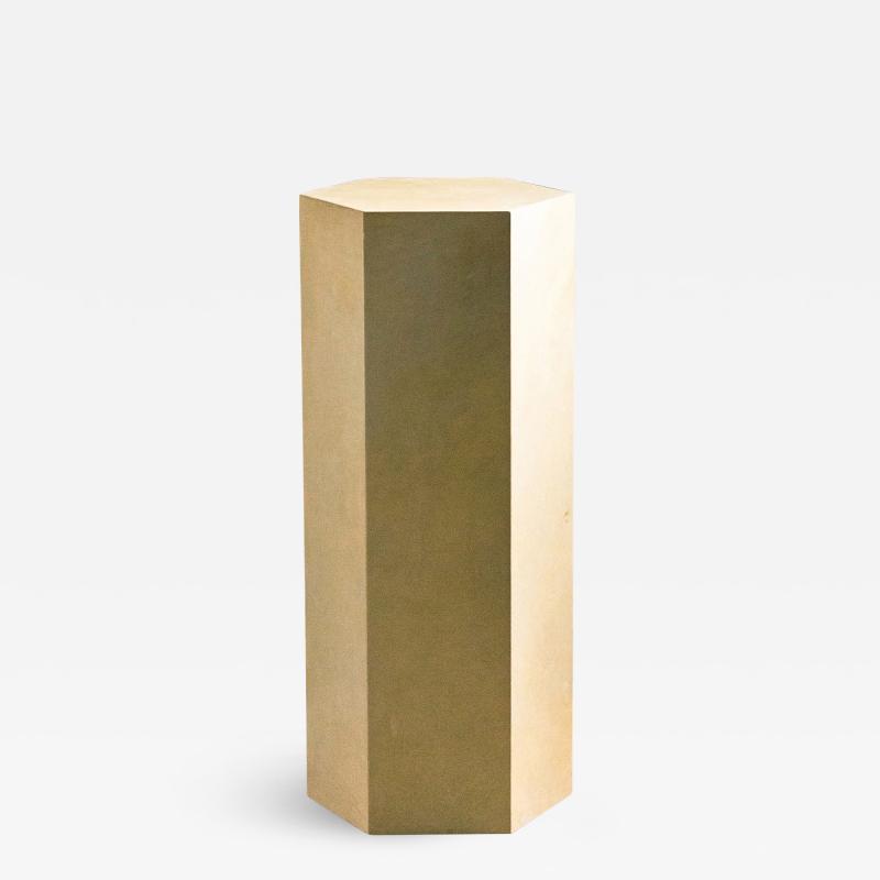 Costantini Design Goatskin Modern Minimal Side Table by Costantini Pergamino Hex Alto In Stock