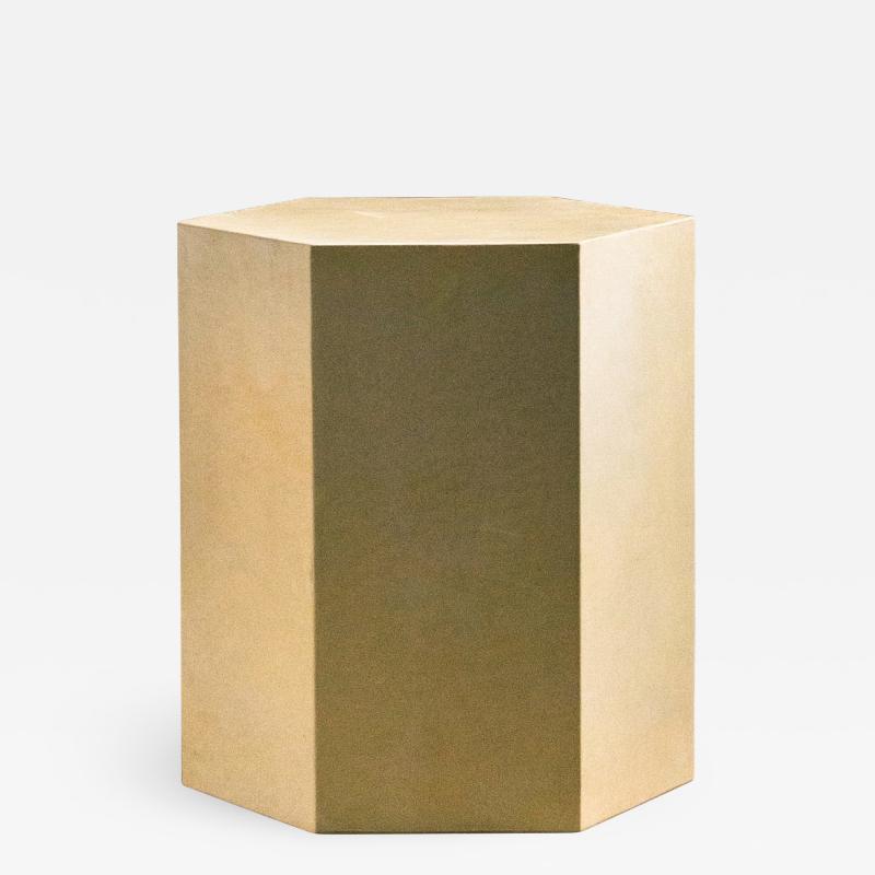 Costantini Design Goatskin Modern Minimal Side Table by Costantini Pergamino Hex Chico In Stock