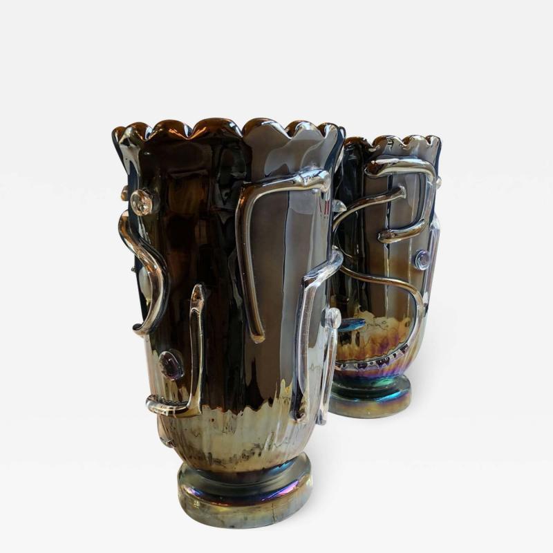 Costantini Design Late20th Century Pair of Iridescent Black Murano Glass Vases by Costantini