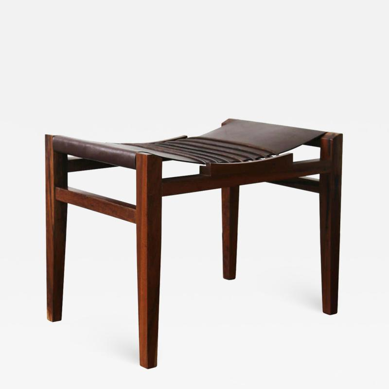 Costantini Design Luzio Slung Leather Stool in Argentine Rosewood with Leather Cording