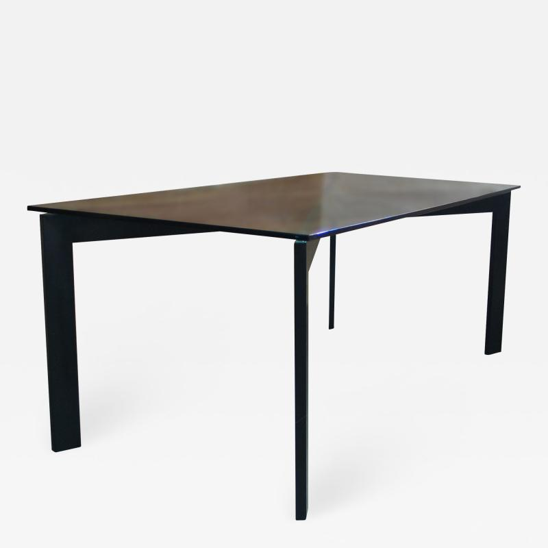 Costantini Design Massimo Dining Table in Burnished Steel frame Glass top from Costantini