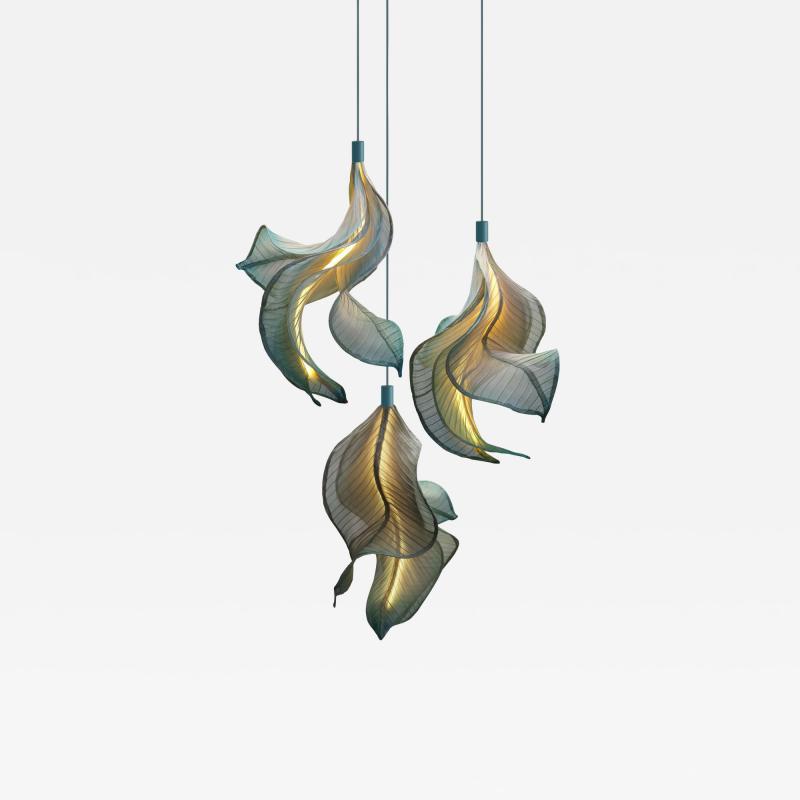 Costantini Design Modern Fabric Pendant Hand Painted Light Sirenetta from Studio Mirei In Stock