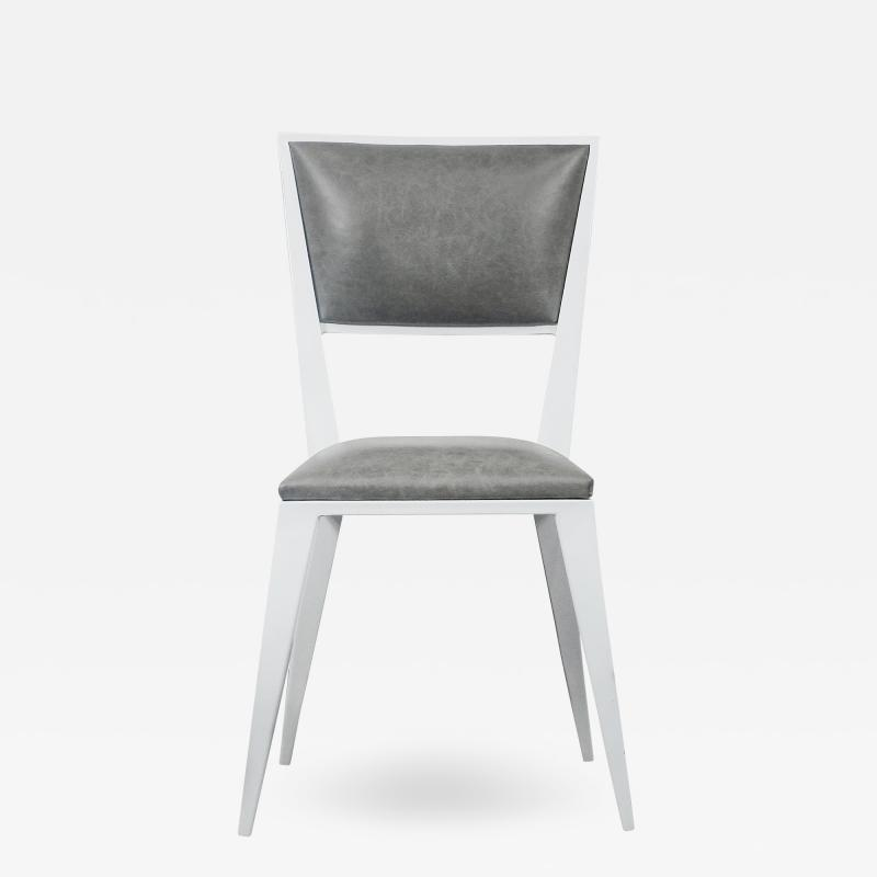 Costantini Design Modern Hand Welded Metal Frame and Leather Dining Chair Rodelio Bianco