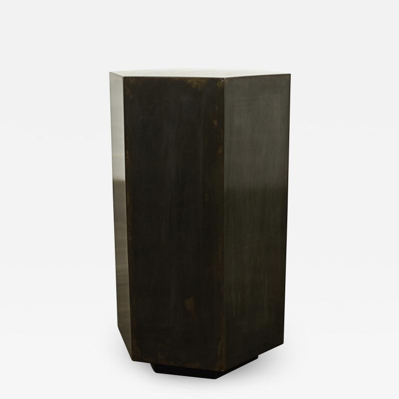 Costantini Design Modern Side Table in Patinated Steel from Costantini Ettore Hex In Stock