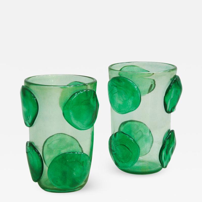 Costantini Design Pair of Mid Century Modern Costantini Murano Glass Italian Vases