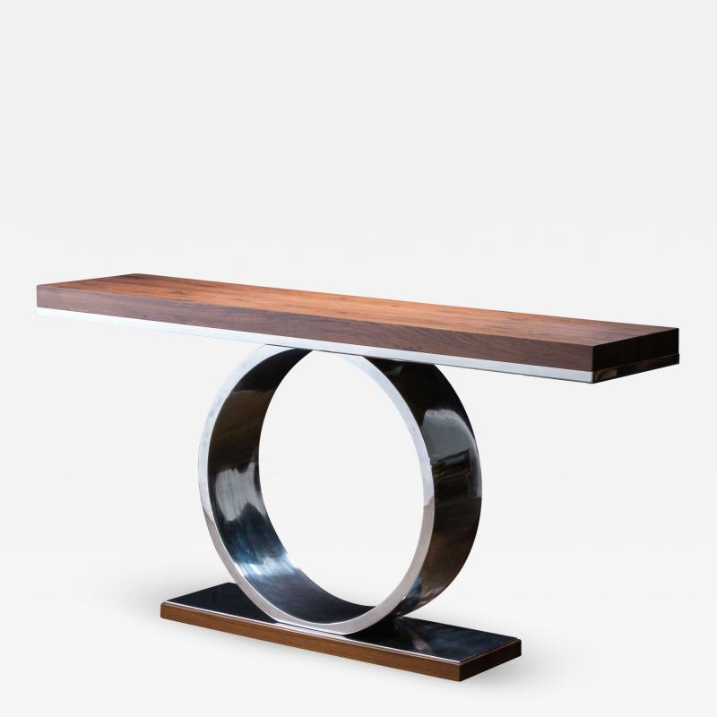 Costantini Design Polished Steel and Wood Console Table from Costantini Donte