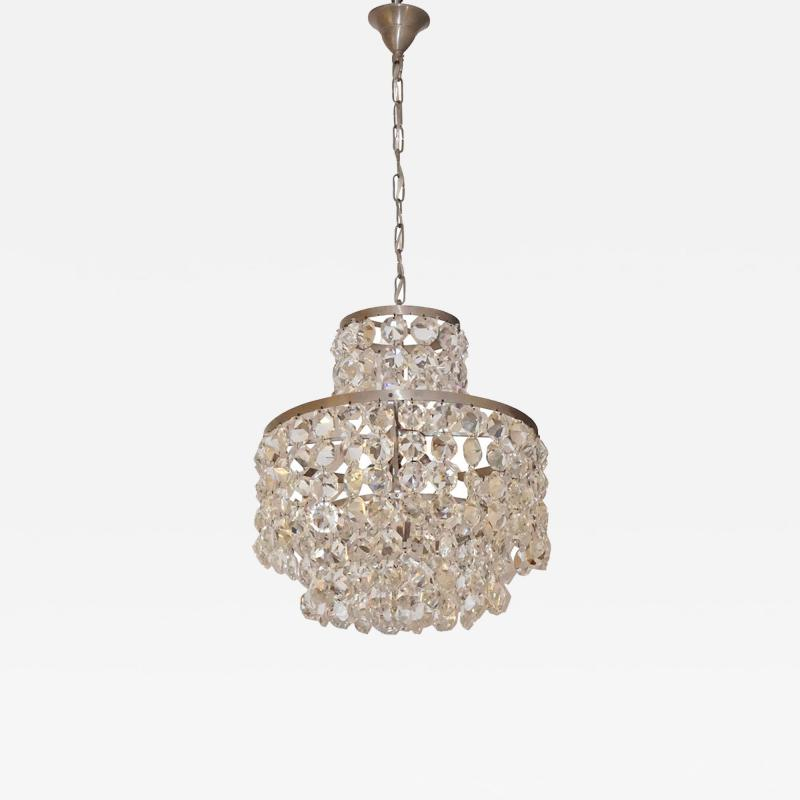 Cosulich Interiors Antiques 1950s Italian Vintage Satin Chrome and Clear Crystal Murano Glass Chandelier