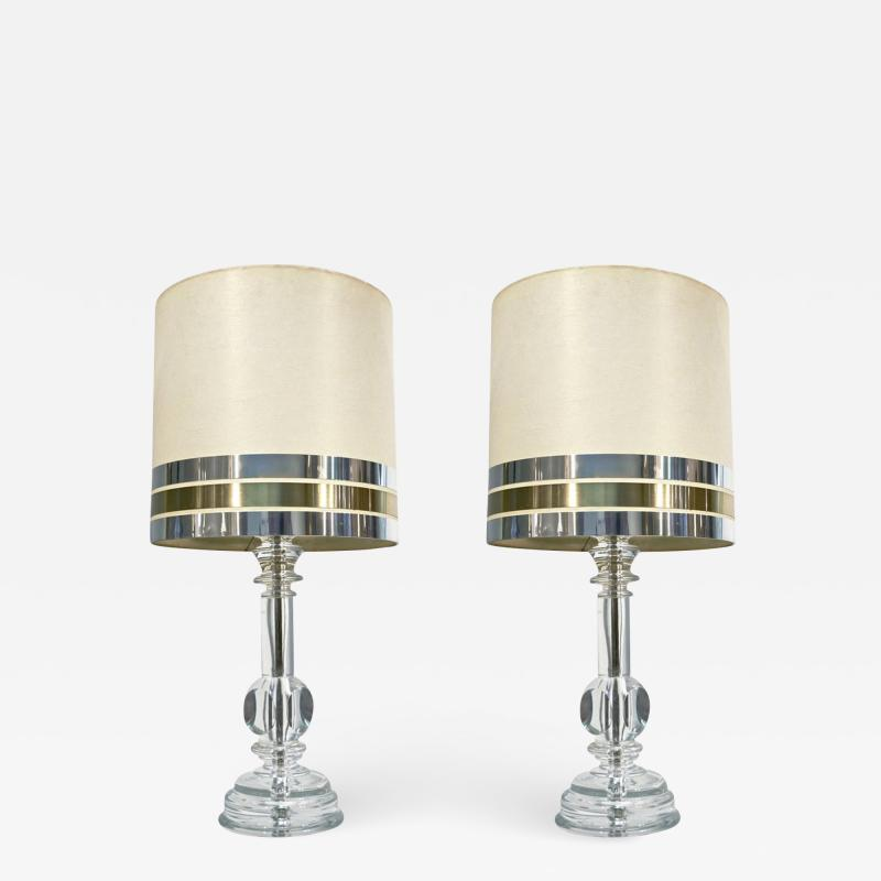 Cosulich Interiors Antiques 1970s Italian Vintage Pair of Crystal Glass Table Lamps with Organic Design