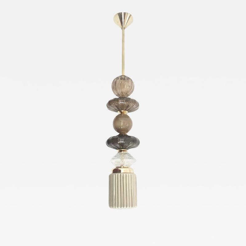 Cosulich Interiors Antiques Contemporary Customizable Taupe Gold Ivory White Murano Glass Pendant Chandelier
