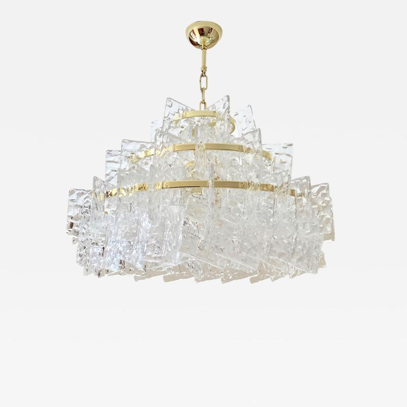 Cosulich Interiors Antiques Contemporary Italian Couture Crystal Clear Murano Glass Round Brass Chandelier