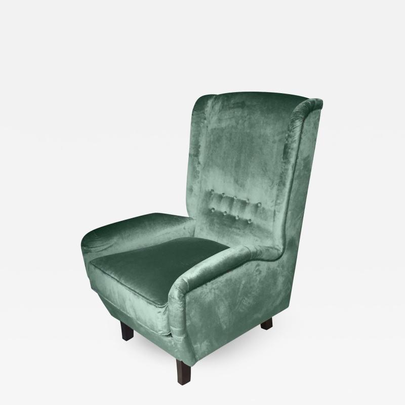 Cosulich Interiors Antiques Contemporary Italian Gio Ponti Style Teal Aqua Green Velvet High Back Armchair