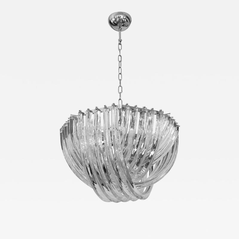 Cosulich Interiors Antiques Contemporary Italian Minimalist Curved Crystal Murano Glass Chrome Chandelier