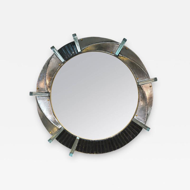 Cosulich Interiors Antiques Contemporary Italian Modern Black Silver Aqua Murano Glass Brass Round Mirror