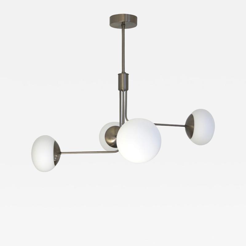 Cosulich Interiors Antiques Contemporary Italian Modern Oil Rubber 4 White Murano Glass Globe Chandelier