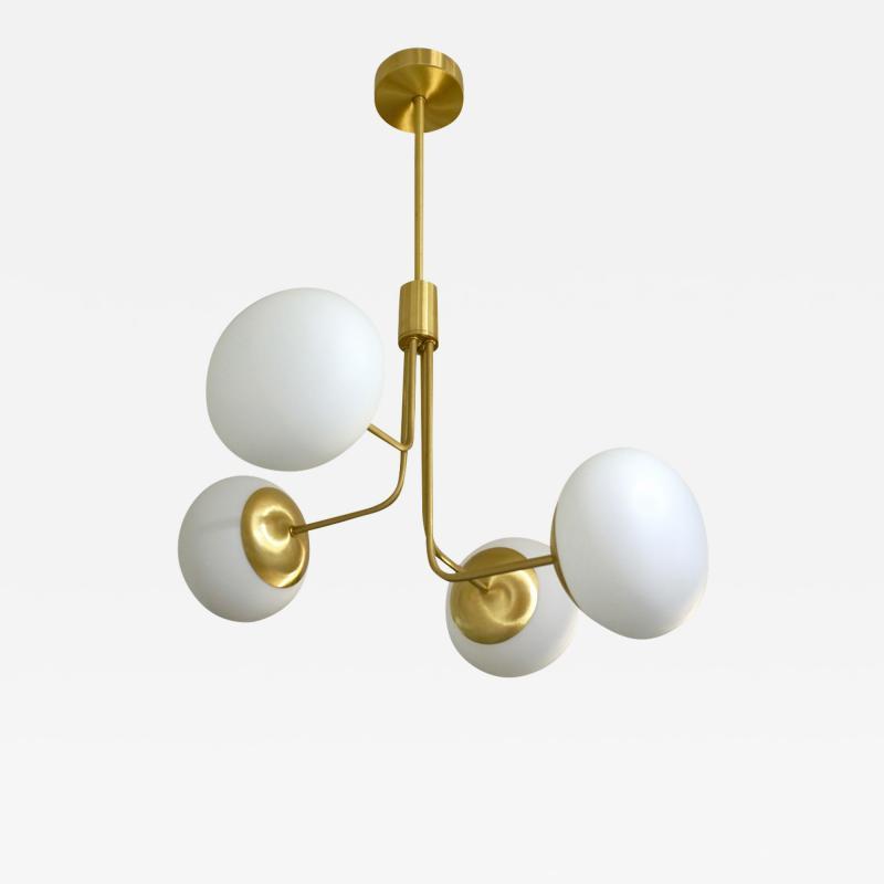 Cosulich Interiors Antiques Contemporary Italian Modern Satin Brass 4 White Murano Glass Globe Chandelier