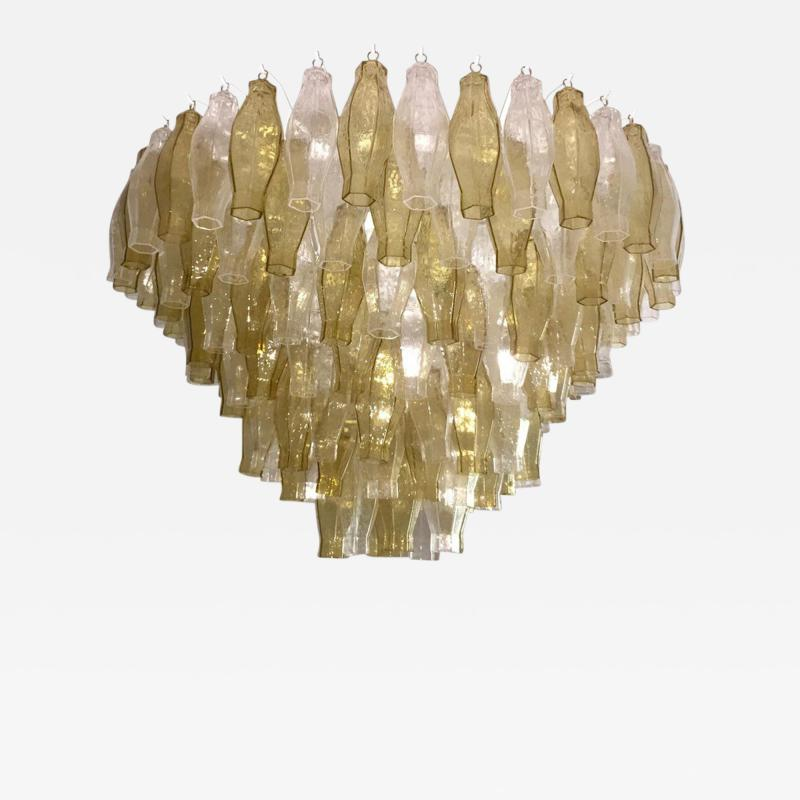 Cosulich Interiors Antiques Contemporary Italian Poliedri Amber and Crystal Clear Murano Glass Chandelier