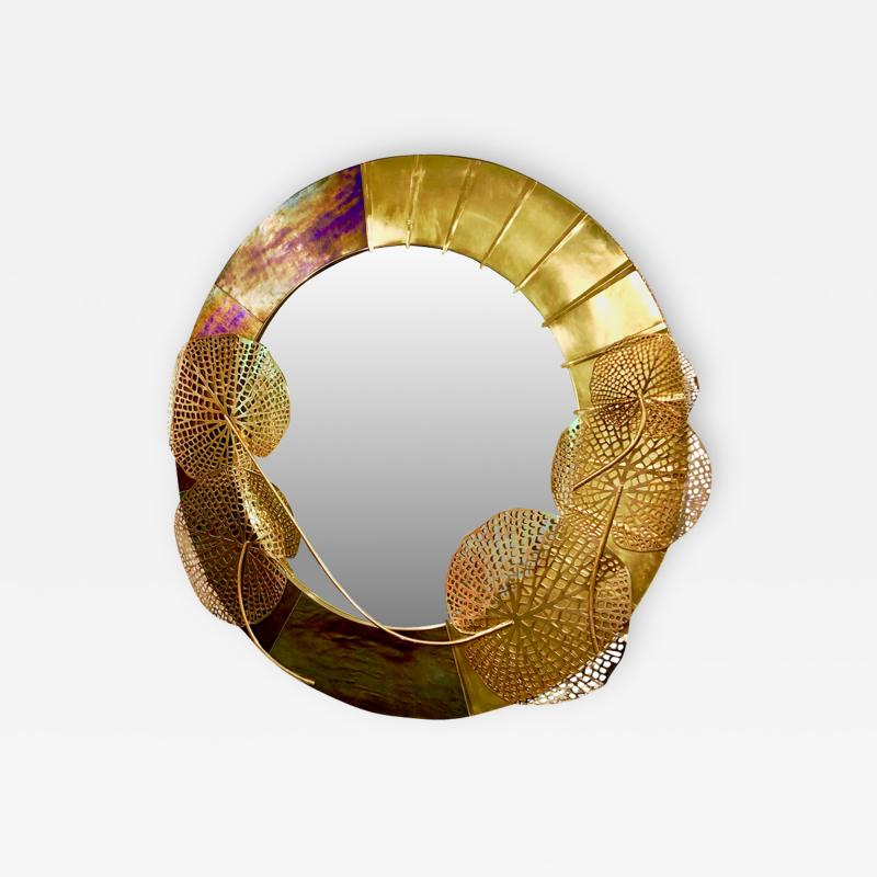 Cosulich Interiors Antiques Italian Organic Brass and Opalescent Murano Glass Modern Sculpture Round Mirror