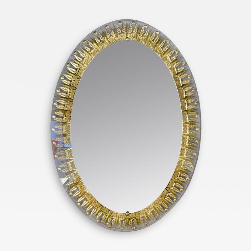 Cristal Art Mirror Gilt Ears of Wheat by Cristal Art Italy 1960s