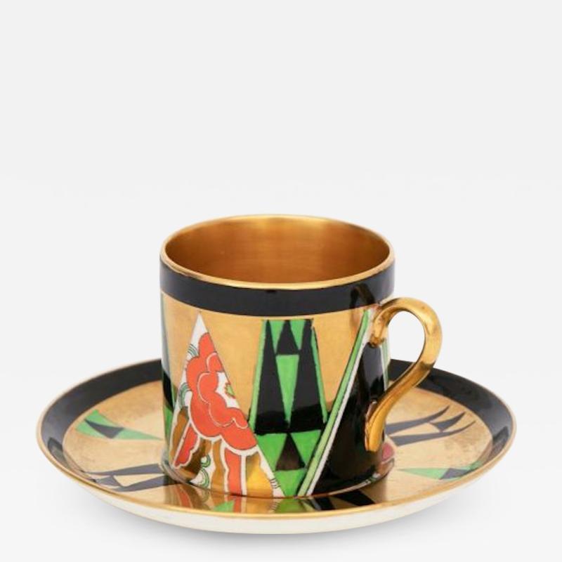 Crown Devon Art Deco Orient Coffee Cup Saucer by Crown Devon
