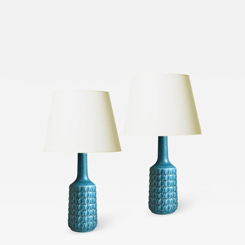 D sir e Stent j Mod Pair of Table Lamps in Teal Blue by Desiree